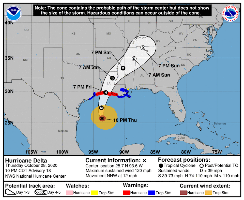 Hurricane Delta strengthened into a Category 3 storm ahead of schedule, and is now expected to make landfall in Louisiana as one.