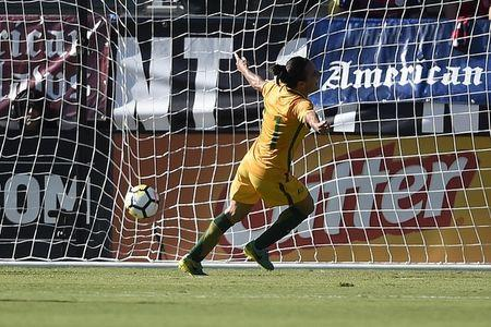 Aug 3, 2017; Carson, CA, USA; Australia forward Lisa De Vanna (11) reacts after scoring a goal against Brazil during the first half at StubHub Center. Mandatory Credit: Kelvin Kuo-USA TODAY Sports/Files