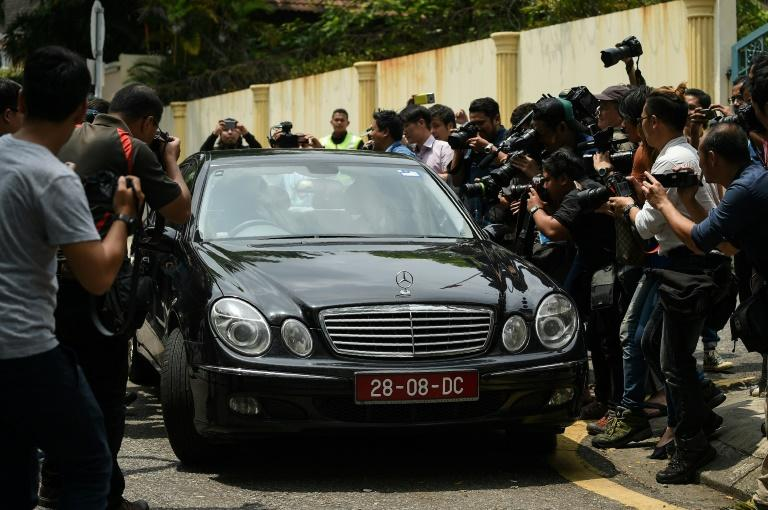 Two cars were allowed to leave the North Korean embassy