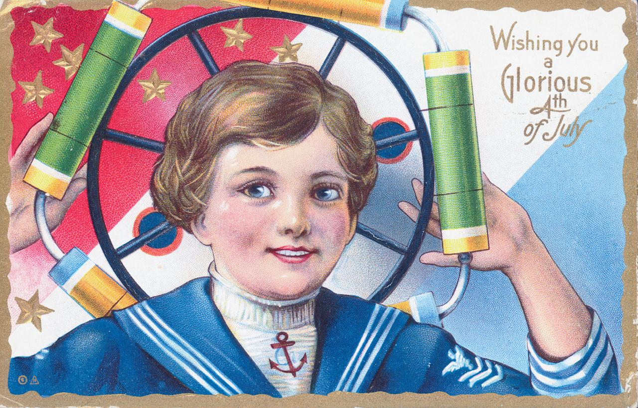 <p>Illustrated color postcard celebrating the American holiday, the Fourth of July, showing a patriotic sailor boy with a firecracker wheel. (Photo: Kean Collection/Archive Photos/Getty Images) </p>
