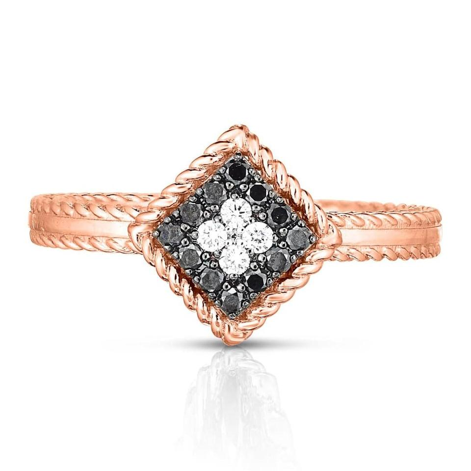 """<p>Handcrafted in Italy, they'll be hypnotized by the black and white diamonds on the <a href=""""https://www.popsugar.com/buy/Roberto-Coin-Palazzo-Ducale-Diamond-Ring-531238?p_name=Roberto%20Coin%20Palazzo%20Ducale%20Diamond%20Ring&retailer=shop.nordstrom.com&pid=531238&price=1%2C300&evar1=fab%3Aus&evar9=44555978&evar98=https%3A%2F%2Fwww.popsugar.com%2Fphoto-gallery%2F44555978%2Fimage%2F47011787%2FRoberto-Coin-Palazzo-Ducale-Diamond-Ring&list1=wedding%2Cjewelry%2Crose%20gold%2Cengagement%20rings&prop13=api&pdata=1"""" rel=""""nofollow noopener"""" class=""""link rapid-noclick-resp"""" target=""""_blank"""" data-ylk=""""slk:Roberto Coin Palazzo Ducale Diamond Ring"""">Roberto Coin Palazzo Ducale Diamond Ring</a> ($1,300).</p>"""