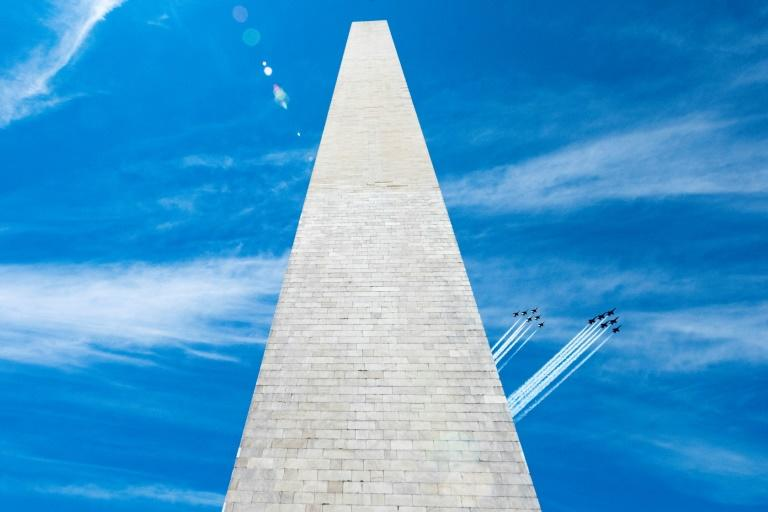 Flyover around Washington DC salutes healthcare workers fighting COVID-19