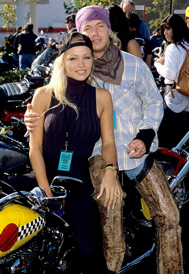 Was it the snakeskin chaps, multiple bandanas or '90s flannel that caught her eye? We'll never know for sure, but it looked like Pamela Anderson got into the biker spirit during her time with Poison frontman Bret Michaels (another rock star!) in 1994. And if you had any doubts about the two of them, a sex tape (another sex tape!) surfaced in 2005 and is now available on DVD.