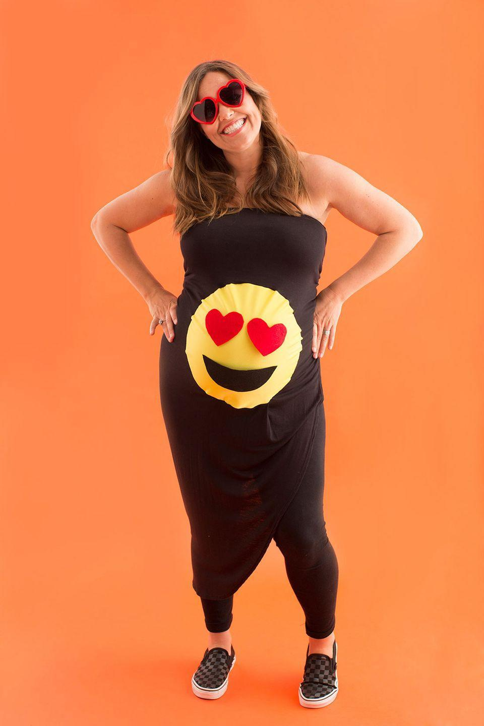 """<p>Our reaction to this costume: 😍</p><p><strong>Get the tutorial at <a href=""""https://www.brit.co/diy-maternity-halloween-costumes/"""" rel=""""nofollow noopener"""" target=""""_blank"""" data-ylk=""""slk:Brit + Co"""" class=""""link rapid-noclick-resp"""">Brit + Co</a>.</strong></p><p><a class=""""link rapid-noclick-resp"""" href=""""https://www.amazon.com/Armear-Fashion-Oversized-Plastic-Sunglasses/dp/B01MRTKOVI/?tag=syn-yahoo-20&ascsubtag=%5Bartid%7C10050.g.4972%5Bsrc%7Cyahoo-us"""" rel=""""nofollow noopener"""" target=""""_blank"""" data-ylk=""""slk:SHOP HEART SUNGLASSES"""">SHOP HEART SUNGLASSES</a> </p>"""