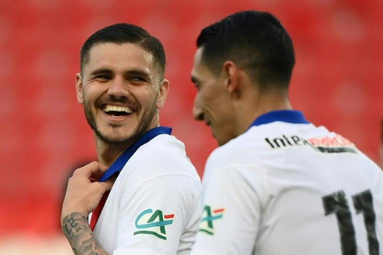 Icardi (L) netted a hat-trick as PSG cruised into the last four