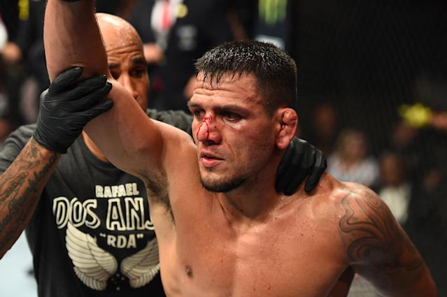 Rafael Dos Anjos of Brazil reacts after finishing five rounds against Colby Covington in their interim welterweight title fight during the UFC 225 event at the United Center on June 9, 2018 in Chicago, Illinois. (Getty Images)