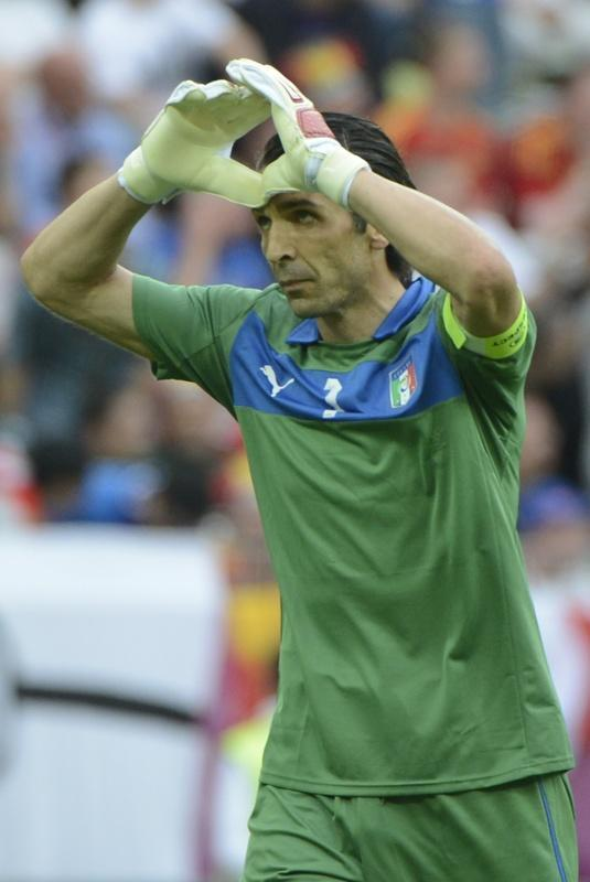 Italian goalkeeper Gianluigi Buffon gestures at the end of the Euro 2012 championships football match Spain vs Italy on June 10, 2012 at the Gdansk Arena. AFP PHOTO / PIERRE-PHILIPPE MARCOUPIERRE-PHILIPPE MARCOU/AFP/GettyImages