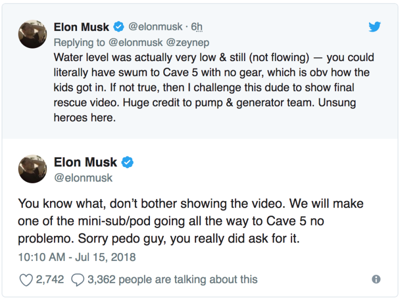 Elon Musk Calls a Diver That Rescued Thai Soccer Team a 'Pedo' on Twitter