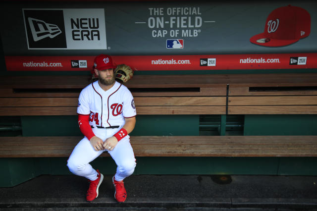 "The <a class=""link rapid-noclick-resp"" href=""/mlb/teams/was"" data-ylk=""slk:Washington Nationals"">Washington Nationals</a> reportedly made <a class=""link rapid-noclick-resp"" href=""/mlb/players/8875/"" data-ylk=""slk:Bryce Harper"">Bryce Harper</a> an ""aggressive"" long-term offer at the end of the 2018 season, though he declined. (AP Photo/Manuel Balce Ceneta)"