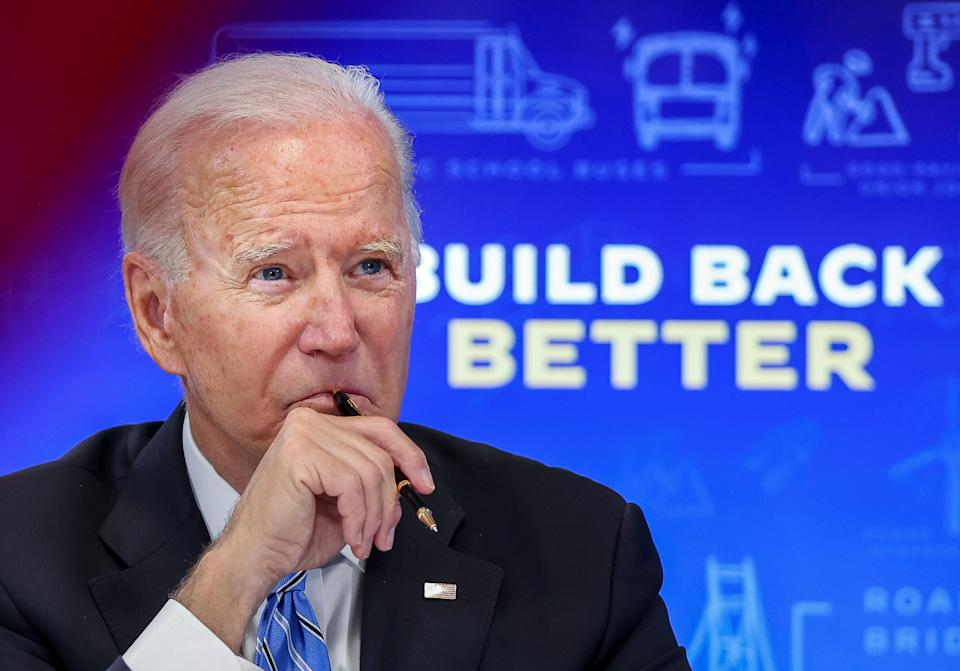 U.S. President Joe Biden meets virtually with governors, mayors, and other state and local elected officials to discuss the bipartisan Infrastructure Investment and Jobs Act, in the South Court Auditorium at the White House in Washington, U.S., August 11, 2021. REUTERS/Evelyn Hockstein