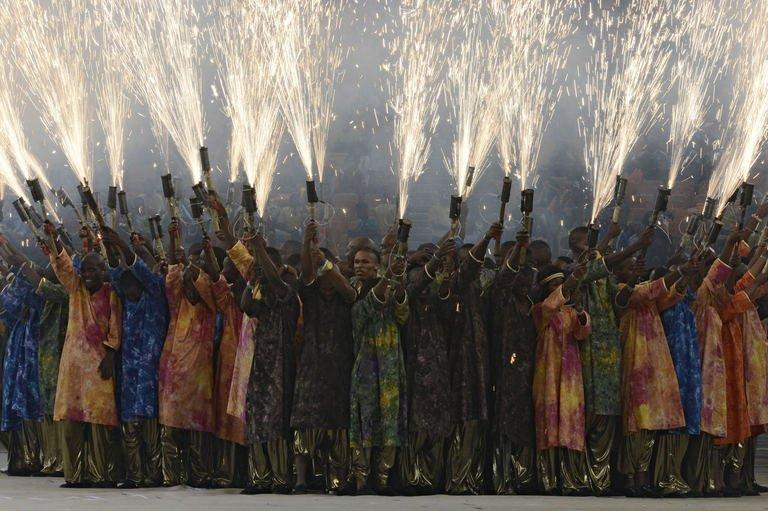 Dancers perform during a ceremony held ahead of the kick off of the 2013 African Cup of Nations final football match between Burkina Faso and Nigeria on February 10, 2013 at Soccer City stadium in Johannesburg