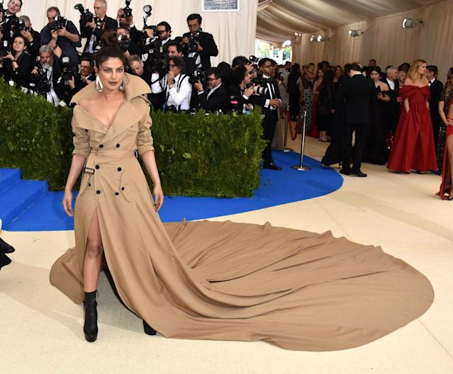 <p>The actress wore a trench coat gown to the 2017 Met Gala. (Photo by John Shearer/Getty Images) </p>