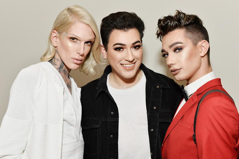 LOS ANGELES, CA - JUNE 20: Jeffree Star, Manny Gutierrez and James Charles celebrate The Launch Of KKW Beauty on June 20, 2017 in Los Angeles, California. (Photo by Stefanie Keenan/Getty Images for Full Picture)