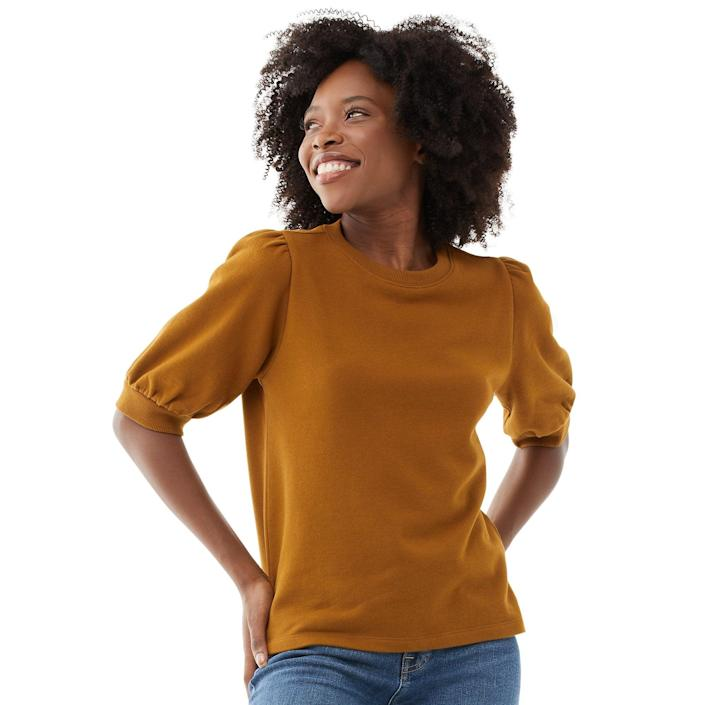"""<br> <br> <strong>Free Assembly</strong> Organic Cotton and Recycled Polyester Puff Sleeve Top, $, available at <a href=""""https://go.skimresources.com/?id=30283X879131&url=https%3A%2F%2Fwww.walmart.com%2Fip%2FFree-Assembly-Women-s-Short-Sleeve-Puff-Sleeve-Top%2F714322138%3FvariantFieldId%3Dactual_color"""" rel=""""nofollow noopener"""" target=""""_blank"""" data-ylk=""""slk:Walmart"""" class=""""link rapid-noclick-resp"""">Walmart</a>"""