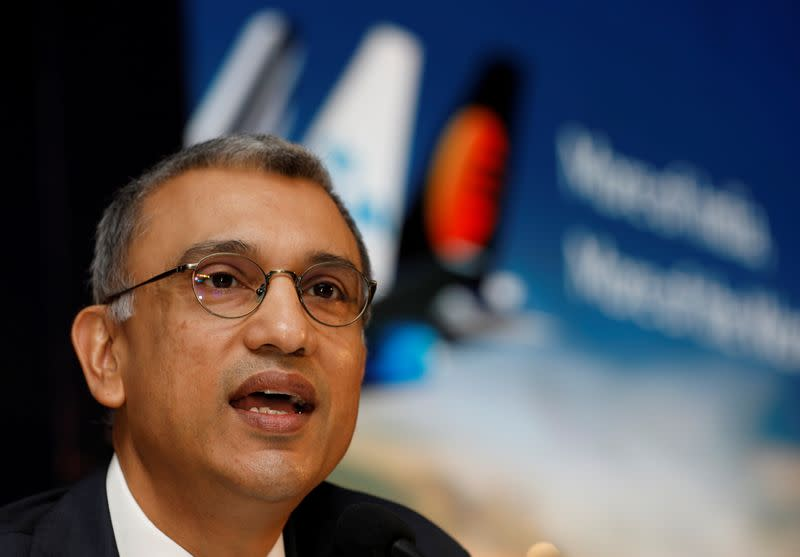 FILE PHOTO: Vinay Dube, CEO of Jet Airways speaks during a news conference in Mumbai