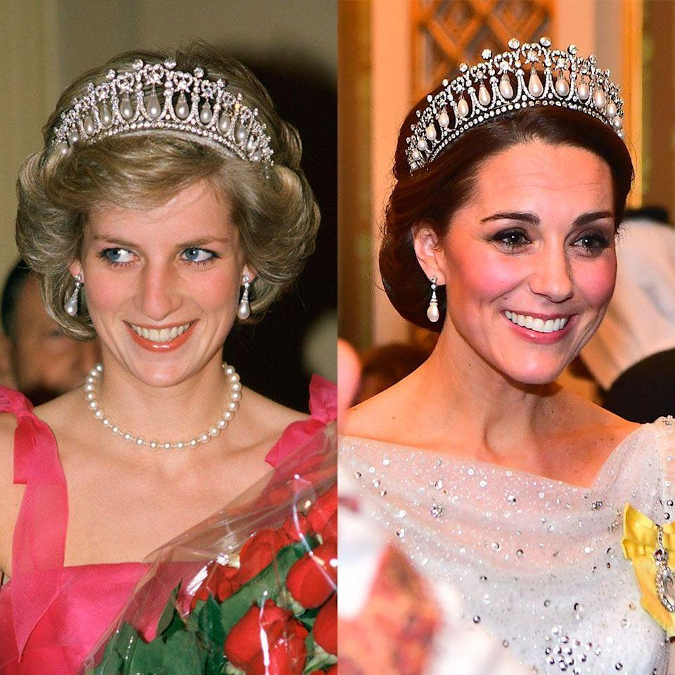 """<p>Queen Elizabeth will often lend jewelry in her collection to other members of the royal family for extended periods of time. Such is the case with <a href=""""https://www.townandcountrymag.com/society/tradition/a10302981/cambridge-love-knot-tiara/"""" rel=""""nofollow noopener"""" target=""""_blank"""" data-ylk=""""slk:the Cambridge Lover's Knot Tiara"""" class=""""link rapid-noclick-resp"""">the Cambridge Lover's Knot Tiara</a>, which was a favorite of Princess Diana's back in the day. After her death, the piece wasn't seen again until Kate Middleton put it on in 2015. Since then, it's become one of Kate's favorite headpieces.</p>"""