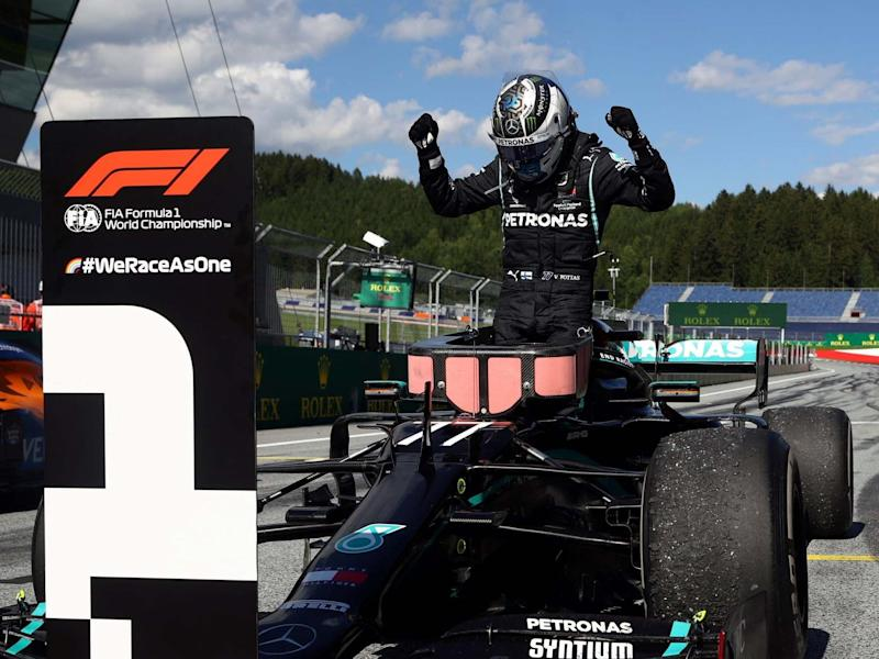 Valtteri Bottas celebrates winning the Austrian Grand Prix: Reuters