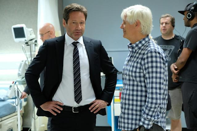 David Duchovny and Chris Carter on the set of 'The X-Files' (Photo: Robert Falconer/FOX)