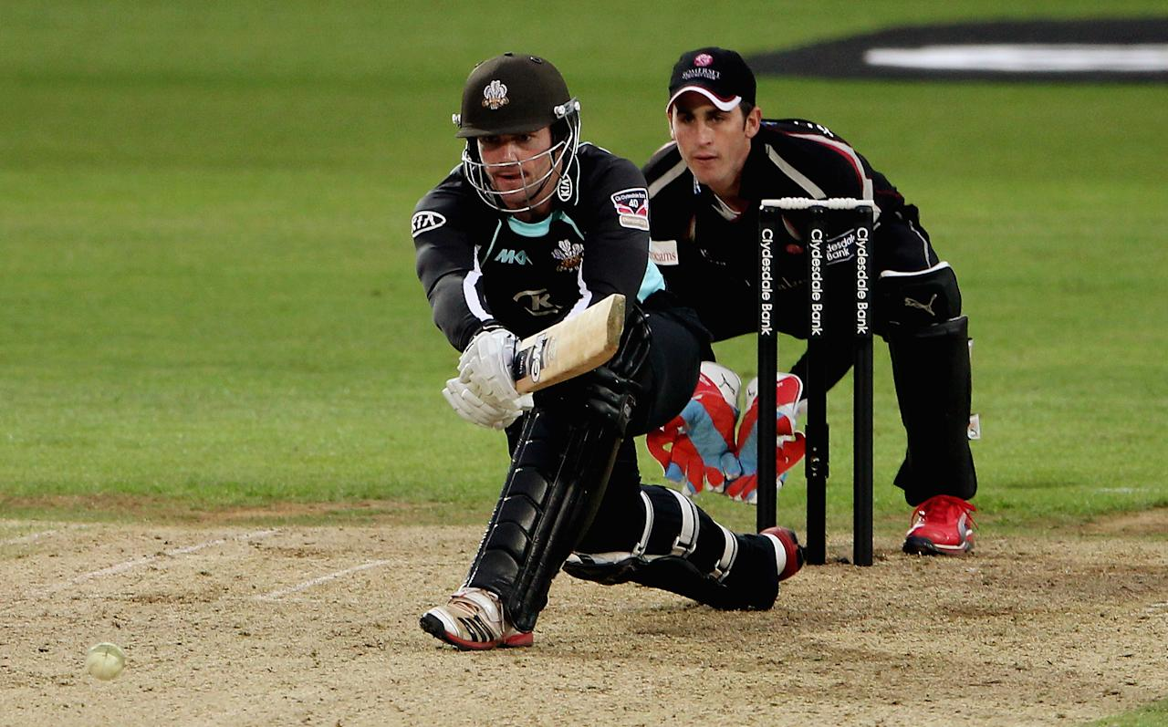 LONDON, ENGLAND - MAY 04:  Tom Maynard of Surrey in action during the Clydesdale Bank Pro40 match between Surrey and Somerset at The Kia Oval on May 4, 2012 in London, England.  (Photo by Scott Heavey/Getty Images)