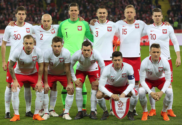 In this photo taken on Tuesday, March 27, 2018, Poland team pose before an international friendly soccer match between Poland and South Korea in Chorzow, Poland.(AP Photo/Czarek Sokolowski)