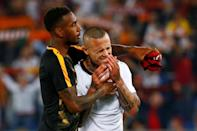 <p>Soccer Football – Champions League Semi Final Second Leg – AS Roma v Liverpool – Stadio Olimpico, Rome, Italy – May 2, 2018 Roma's Radja Nainggolan and Gerson look dejected after the match REUTERS/Tony Gentile </p>