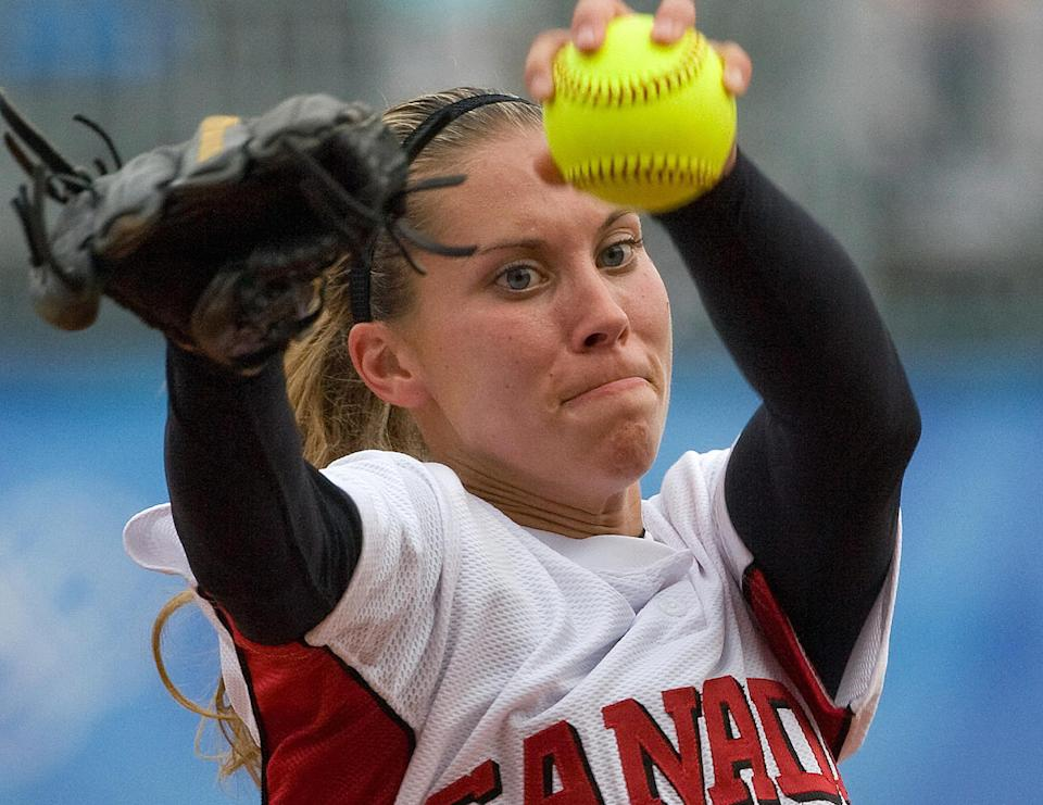 Canada's opener pitcher Lauren Bay Regula throws during the third inning of their semifinal softball game against Australia at Fengtai stadium on August 20, 2008 in the 2008 Beijing Olympic Games. Australia won the game 5-3.  AFP PHOTO/Omar TORRES (Photo credit should read OMAR TORRES/AFP via Getty Images)
