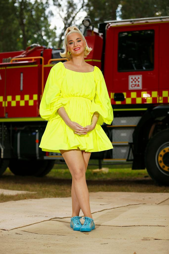 Katy Perry has been keeping everyone amused amid the coronavirus pandemic, pictured here at in Australia in March 2020. (Getty Images)