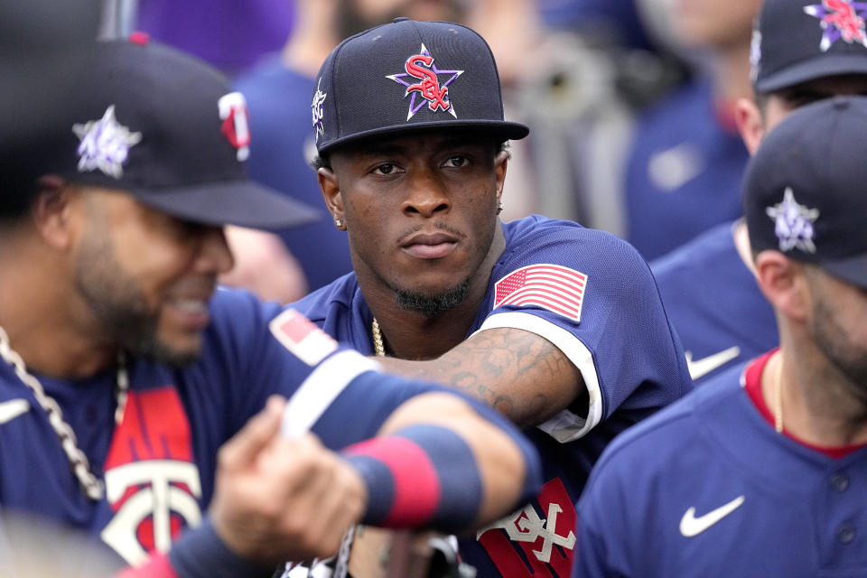 American League's Tim Anderson, of the Chicago White Sox, sits in the dugout prior to the MLB All-Star baseball game, Tuesday, July 13, 2021, in Denver. (AP Photo/Jack Dempsey)