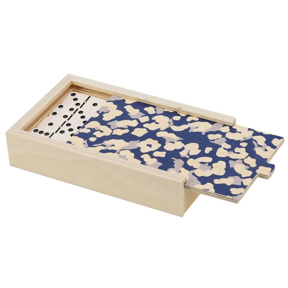 """Wolfum specializes in wooden board games that are too pretty to stow away in a closet. Get your friends' game collection started with this leopard-topped domino set. $68, Food52. <a href=""""https://food52.com/shop/products/7403-handcrafted-wooden-backgammon-domino-games"""" rel=""""nofollow noopener"""" target=""""_blank"""" data-ylk=""""slk:Get it now!"""" class=""""link rapid-noclick-resp"""">Get it now!</a>"""