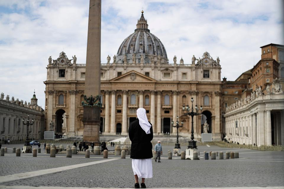 A nun in St. Peter's Square at the Vatican on March 21, 2021.