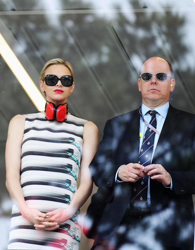 MONTE CARLO, MONACO - MAY 27: Prince Albert II of Monaco and Princess Charlene of Monaco watch from the V.I.P. suite before the Monaco Formula One Grand Prix at the Circuit de Monaco on May 27, 2012 in Monte Carlo, Monaco. (Photo by Mark Thompson/Getty Images)