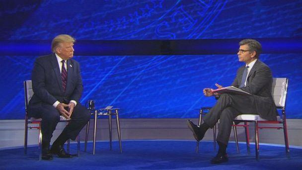 PHOTO: President Donald Trump participates in ABC News' town hall hosted by ABC News chief anchor George Stephanopoulos at the National Constitution Center in Philadelphia, Sept. 15, 2020. (ABC News)