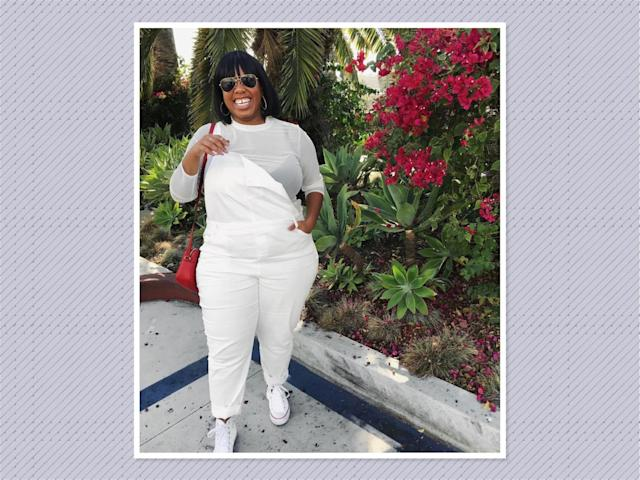 "<p>Whoever said you can't wear white after Labor Day got it wrong, especially if you live in a warmer climate. Try <a href=""https://www.instagram.com/p/BaDQEPFAAzm/?hl=en&taken-by=kellyaugustineb"" rel=""nofollow noopener"" target=""_blank"" data-ylk=""slk:Kelly Augustine"" class=""link rapid-noclick-resp"">Kelly Augustine</a>'s look by rocking the clean look with a pair of must-have white overalls and a long-sleeve mesh top. (Photo: Kelly Augustine) </p>"