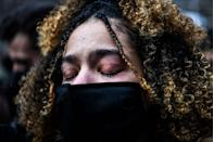 <p>A woman on the street in Minneapolis cries as the Chauvin verdict is announced.</p>