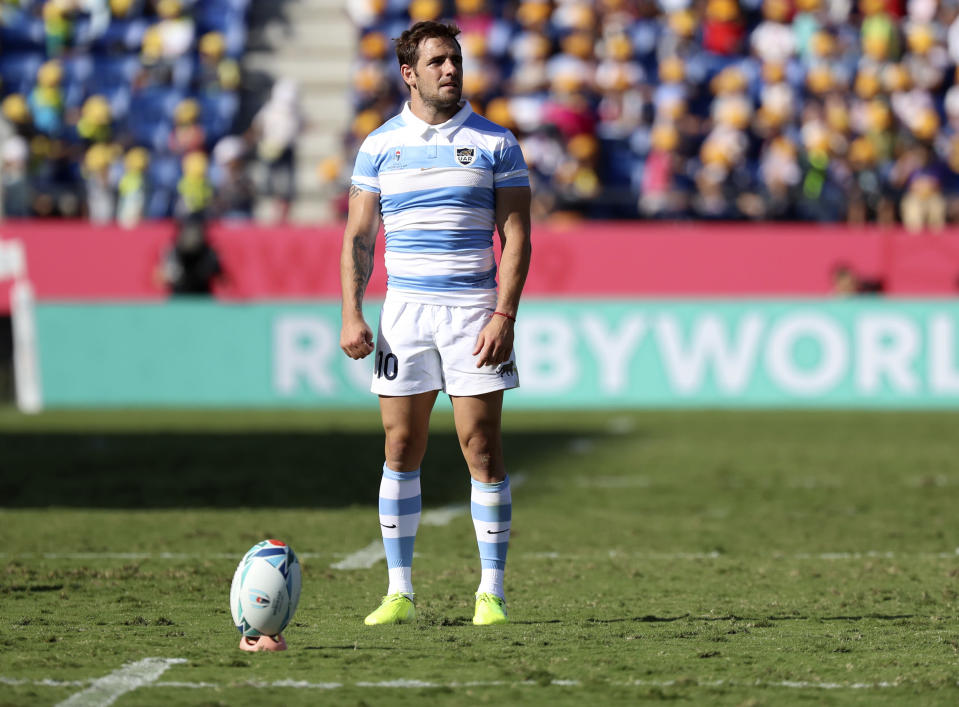 Argentina's Nicolas Sanchez prepares to kick a conversion during the Rugby World Cup Pool C game at Kumagaya Rugby Stadium between Argentina and the United States in Kumagaya City, Japan, Wednesday, Oct. 9, 2019. (AP Photo/Eugene Hoshiko)