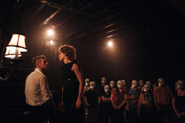 """Actors perform the parts of Macbeth and Lady Macbeth in a production of """"Sleep No More"""" in New York July 25, 2011."""