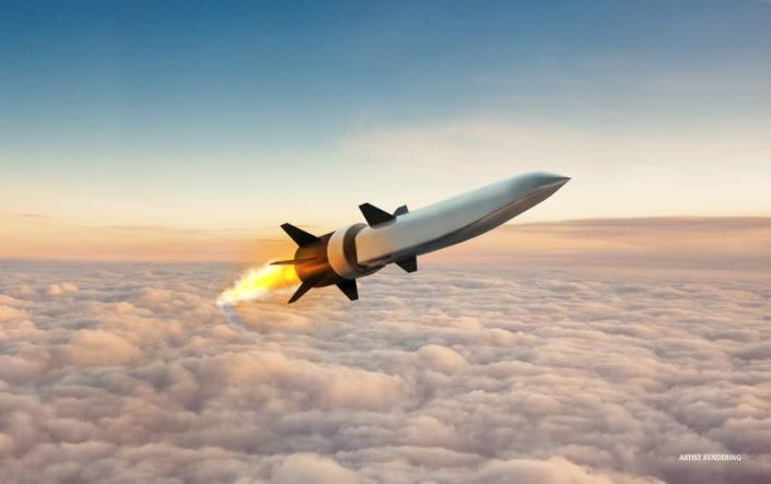 Hypersonic Air-breathing Weapons Concept (HAWC) missile in seen in an artist's conception