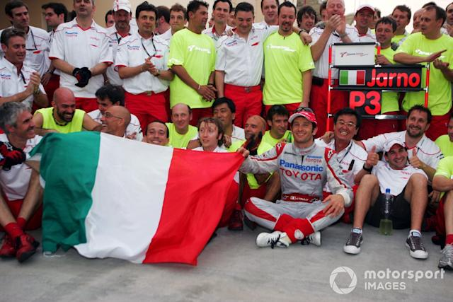 """Jarno Trulli, Toyota celebrates his third position with the team <span class=""""copyright"""">Sutton Images</span>"""