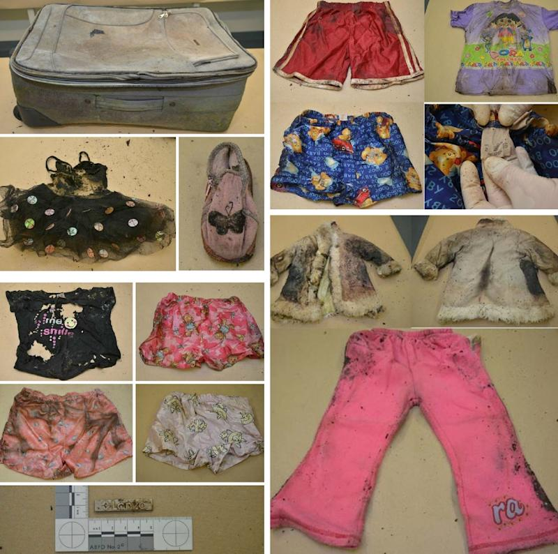 A South Australia police montage of the suitcase (top-L) that contained the remains of a child and clothes when it was found on July 14, 2015 in Wynarka, a small town southeast of Adelaide