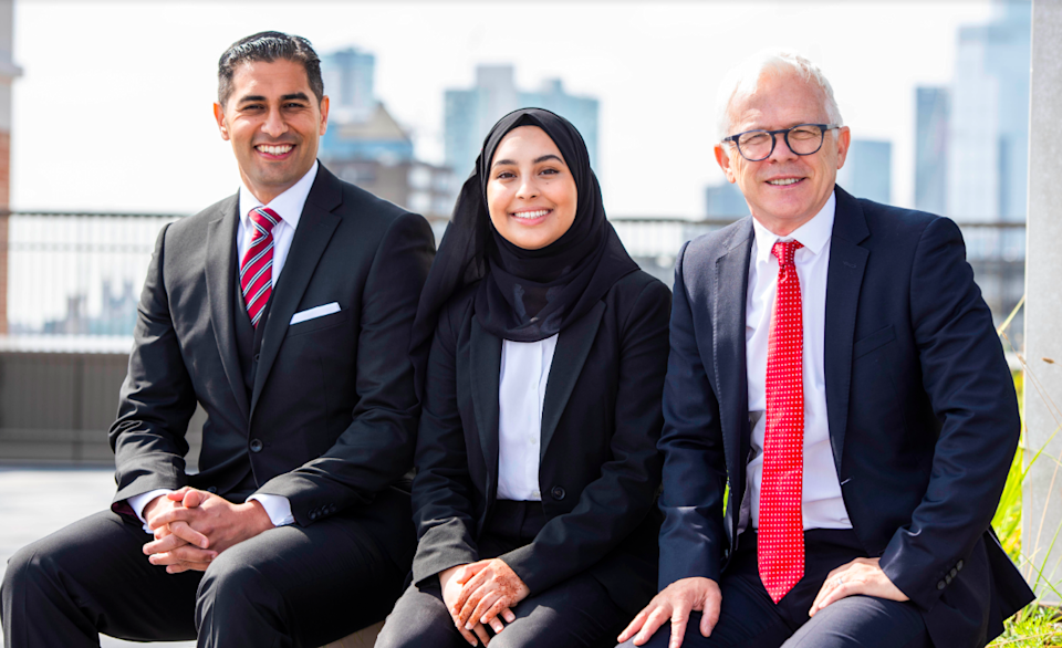 Headteacher Mouhssin Ismail,  student Ayesha Karim and City of London Academy CEO Mark Emmerson (Newham Colliegate)