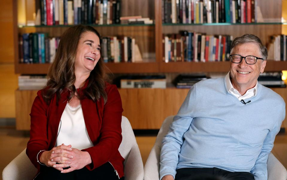 "In this photo taken Feb. 1, 2019, Bill and Melinda Gates are interviewed in Kirkland, Wash. From their perch as the ""unofficial deans"" of big-ticket philanthropy, it's business as usual for the Gates amid questions about whether altruism by the wealthy is a force for good. They are speaking out as their annual letter reviewing their work and vision is released. This year's note focused on 2018's surprises in the areas where the Bill and Melinda Gates Foundation are involved, including global health and development and U.S. education and poverty. (AP Photo/Elaine Thompson)"