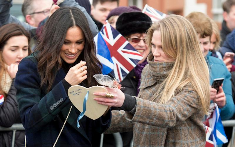 The Duchess of Sussex with Amy Pickerill at Edinburgh Castle in February 2018 - UK Press