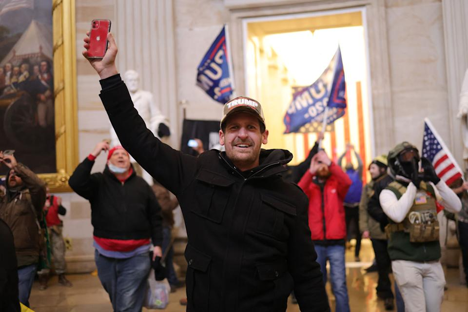 Protesters enter the US Capitol Building on January 06, 2021 in Washington, DC.
