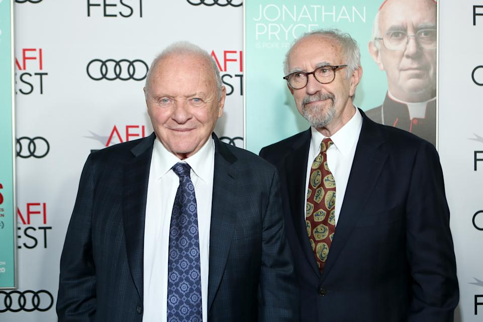 Anthony Hopkins and Jonathan Pryce attend The Two Popes Gala Event at TCL Chinese Theatre on November 18, 2019. (Photo by Rich Polk/Getty Images for Netflix)