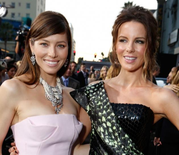 Jessica Biel and Kate Beckinsale at the 'Total Recall' premiere at Grauman's Chinese Theatre on August 1, 2012 in Hollywood  -- Getty Images
