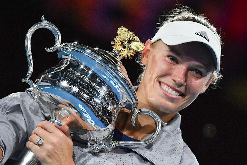 Caroline Wozniacki celebrates after winning the Australian Open last year