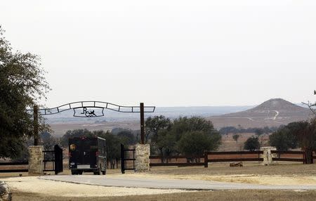 A delivery truck pulls into the entrance of Rough Creek Lodge where Eddie Ray Routh is accused of killing former Navy Seal Chris Kyle and his friend Chad Littlefield near Glen Rose, Texas February 5, 2015.  REUTERS/Mike Stone