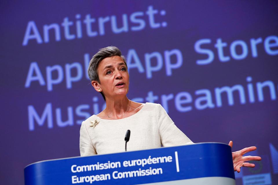 European Commissioner for Europe fit for the Digital Age, Margrethe Vestager, gestures as she speaks during an online news conference on Apple antitrust case at the EU headquarters in Brussels, on April 30, 2021. - The EU formally accused Apple on April 30, 2021 of unfairly squeezing out music streaming rivals through its App Store in one of the biggest-ever competition cases to hit the iPhone maker. (Photo by Francisco Seco / POOL / AFP) (Photo by FRANCISCO SECO/POOL/AFP via Getty Images)