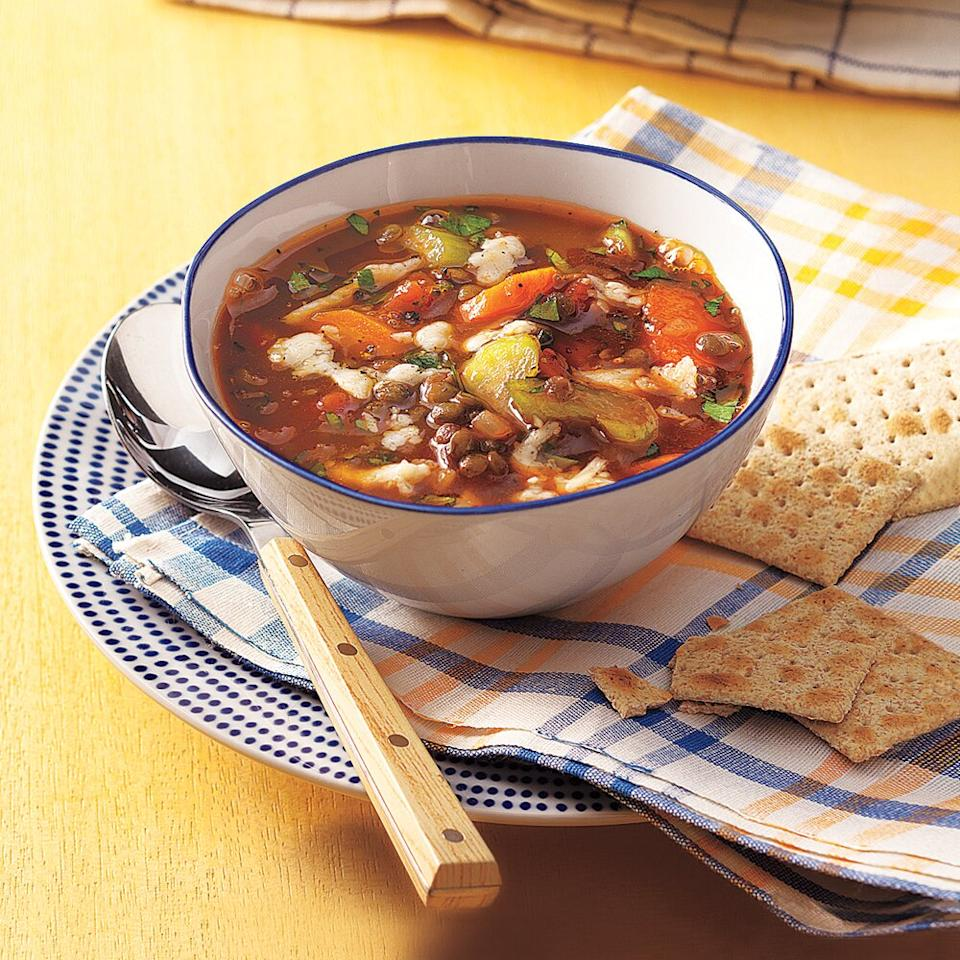 """<p>After a hectic day at work, hearty bowlfuls of Vegetable-Lentil Soup await you in the slow cooker.</p> <p><a href=""""https://www.myrecipes.com/recipe/vegetable-lentil-soup"""">Vegetable-Lentil Soup Recipe</a></p>"""
