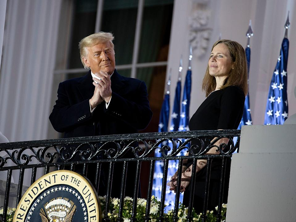 Donald Trump and the newly sworn-in Supreme Court Associate Justice Amy Coney Barrett (Getty Images)